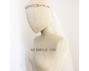 Bridal Veil and Headpieces, Super Soft Tulle Veil, Boho Wedding Veil, Hair Vine with Veil, Gold Hair Vine, Mi Bridal Veil