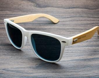Malibu - White Wayfarer Eco-friendly Bamboo Sunglasses