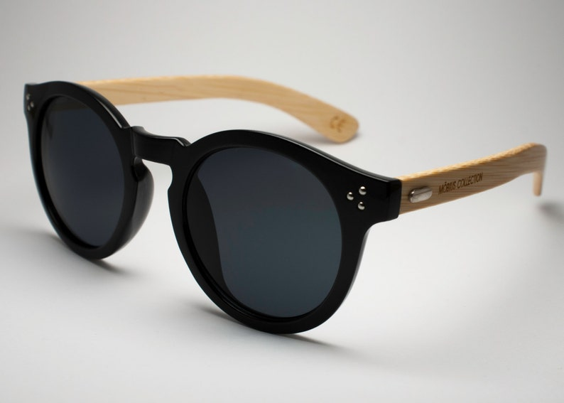 Hepburn  Round Black Eco-friendly Bamboo Sunglasses image 0