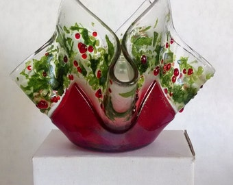 Fused Glass Christmas Candle