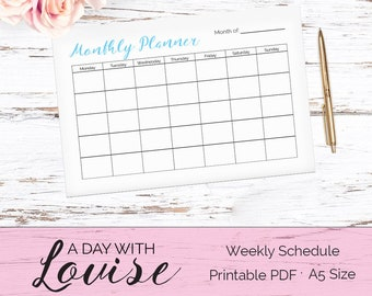 Blue Month to a page Planner Printable / Printable Monthly Planner / A5 Monthly Planner Printable / Printable Planner / Kikki K Large