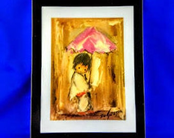 DeGrazia's Boy With Red Umbrella