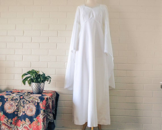 Vintage Medieval Style Wedding Dress 1970s Empire