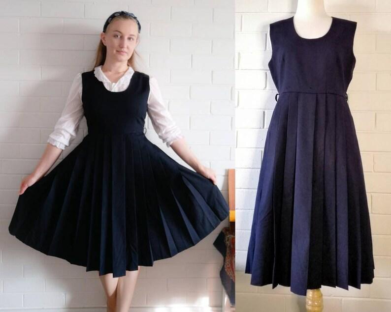 Vintage Pinafore Dress Size M Dark Blue