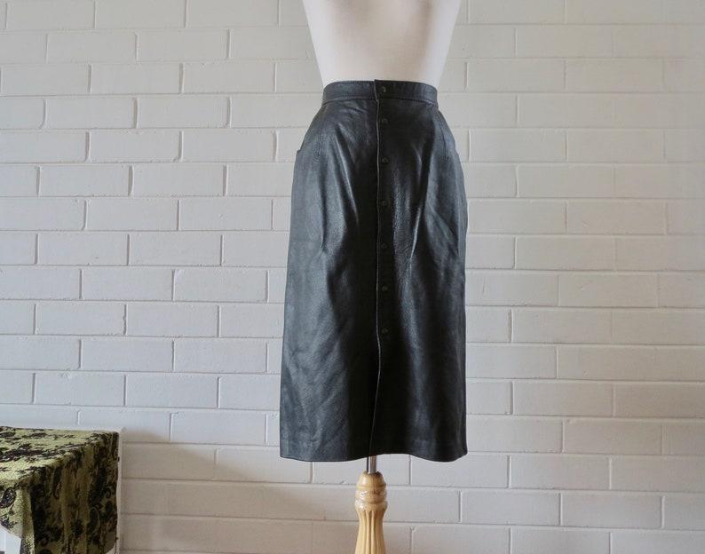 Vintage Leather High Waist Skirt Size 8-10 Black