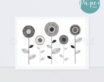 Art Print Neutral Grey Monotone A3 | Floral Stem Contemporary