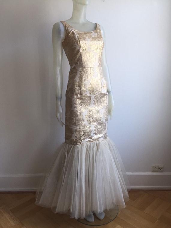 1950s Gold brocade wiggle dress