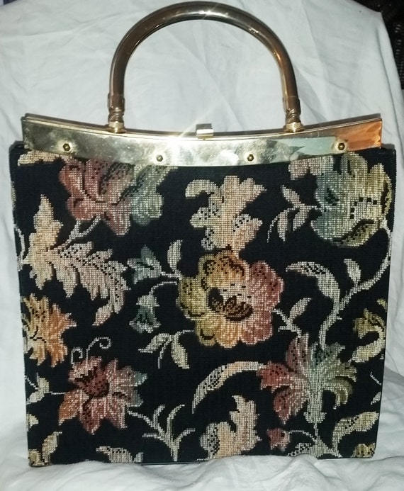 Large Floral Black Tapestry Top Handle Handbag, 19