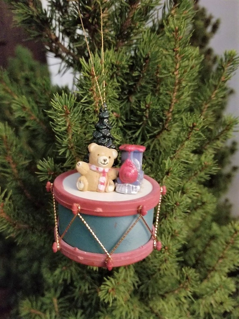 Small Drum Bear Christmas Tree And Train Plastic Tree Ornament Vintage Plastic Drum Ornament With A Bear Christmas Tree And A Train On It