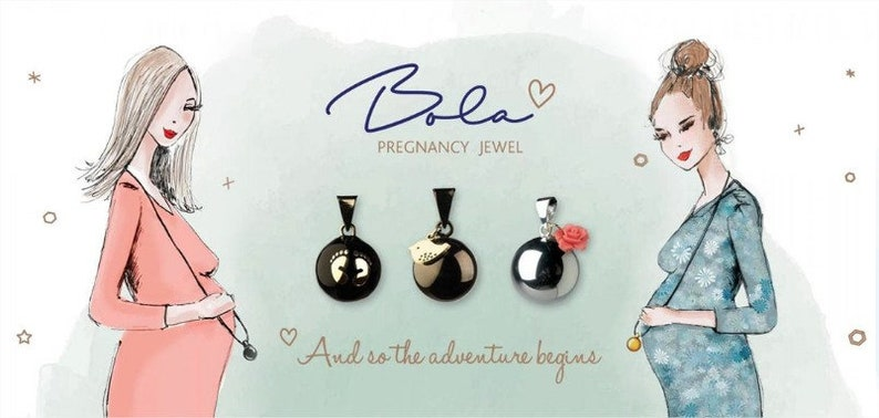 Pregnancy jewelry Bola baby feets rose gold original with sound calming effect