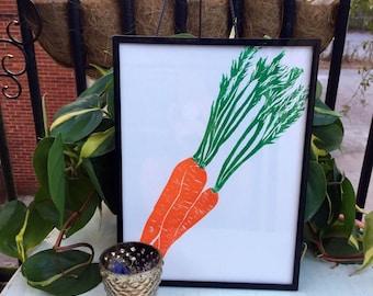 Carrot Linocut Print