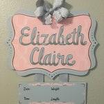 Baby Girl Hospital Door Hanger Blush Pink and Grey, Baby Pink and Grey Hospital Door Hanger, Pink and Grey Nursery