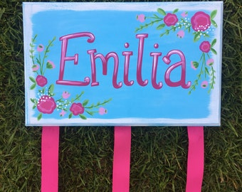 Personalized Bow Holder, Hairbow Holder, Handpaintes Hairbow Holder, Flower Design Hairbow Holder