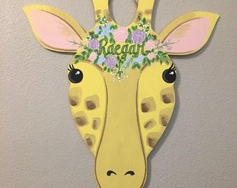 Giraffe Hospital Door Hanger, Giraffe with flowers nursery decor, Girraffe nursery, Jungle Nursery, Giraffe themed door hanger