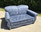 Image of Vintage Edwardian 2 Seater Sofa, Classic Sofa, Antique Blue Sofa, Elegant Old Sofa
