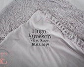 Personalised grey luxury blanket for baby or child with pom pom trim. A beautiful gender neutral gift.