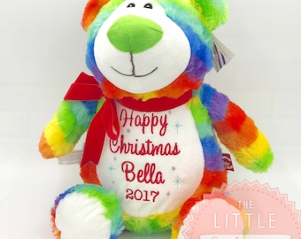 Personalised multi coloured rainbow teddy bear soft toy, plushie, ideal for new baby, teen, baby shower, birthday, rainbow baby, sibling, uk