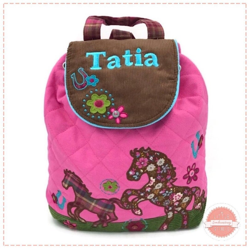 Personalised child backpack in pink pony design for young children.