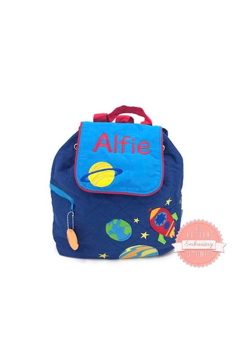 b6febc0e2a06 Personalised toddler backpack in super cute space design.