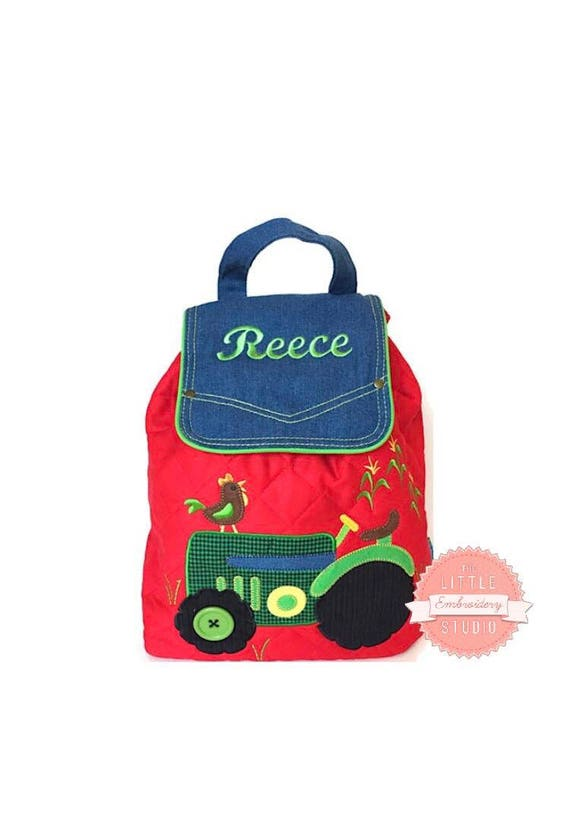 Personalised quilted red backpack in tractor design for child  1a6c6960186e3