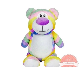 Personalised multi coloured pastel rainbow teddy bear soft toy, plushie, ideal for new baby, teen, baby shower, birthday, rainbow baby