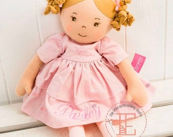 Beautiful personalised rag doll with classic pink linen dress, suitable from birth