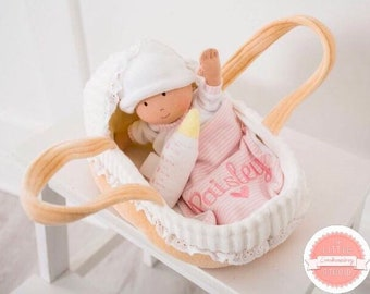 Personalised first doll with carry cot and blanket