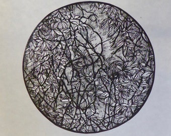 Canopy | Original handmade linocut print | Black and white abstract tree and leaves | Limited edition art