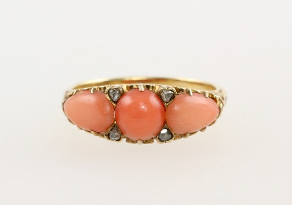 Victorian 15ct Gold Coral & Diamond Boat Ring