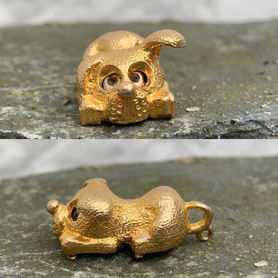 Vintage 1960's 9CT Gold Dog Charm Pendant With Mov