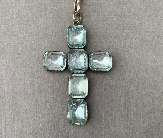 Antique Georgian Silver Aquamarine Paste Cross