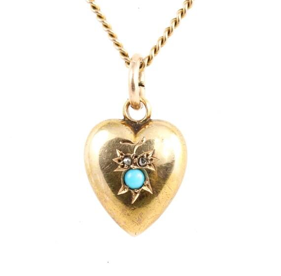 Antique Edwardian 15ct Gold Turquoise & Diamond Sm