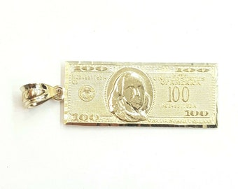 Pendant Height Solid 14k Yellow Gold Small 1,000,000 Million Dollar Money Bill Pendant 36 mm x Pendant Width 12 mm Double Sided
