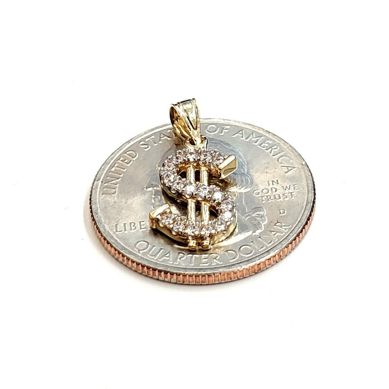 14k yellow gold tiny dollar sign lucky pendant charm cubic zirconia fine gift 1g