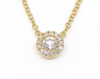 """14k yellow Gold 0.14Ct real Diamond necklace gift jewelry 18"""" adjustable chain"""