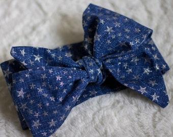 Blue jean baby headwrap, baby headwrap, girls head wrap, self tie headwrap