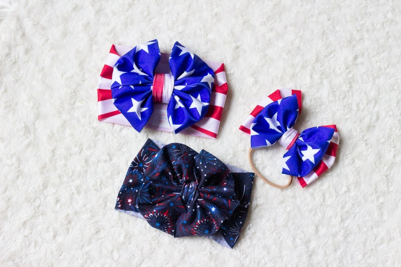 July 4th Fireworks Big Bow Headwrap fireworks headband girls head wrap baby headband