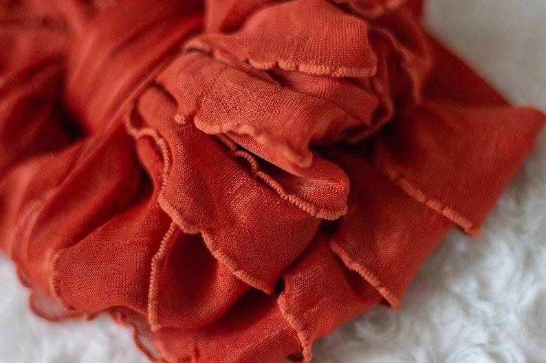 orange headband baby headwrap Burnt Orange Ruffled Messy Headwrap girls head wrap