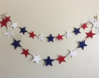 4th of july garland / felt star garland / 4th of July banner / patriotic garland / felt star banner / 4th of july decor / red white blue