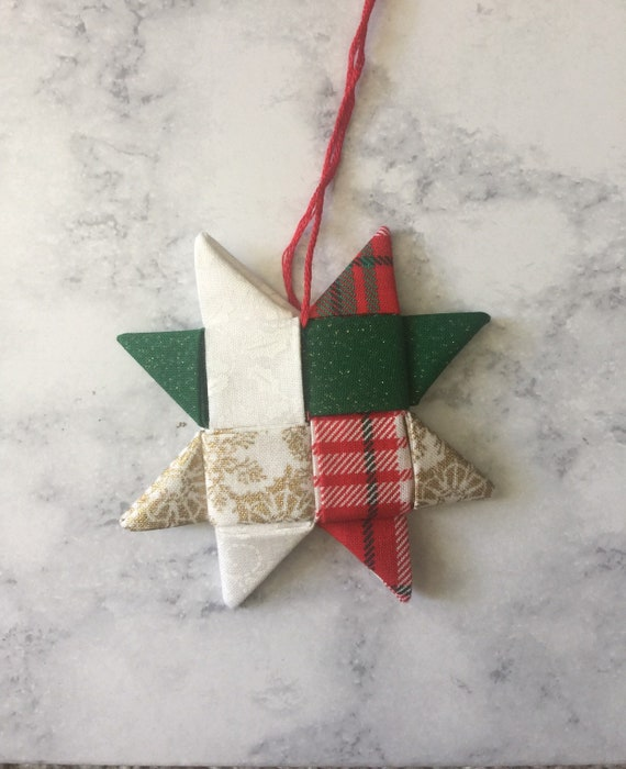 folded star christmas ornament // origami star ornament | Etsy