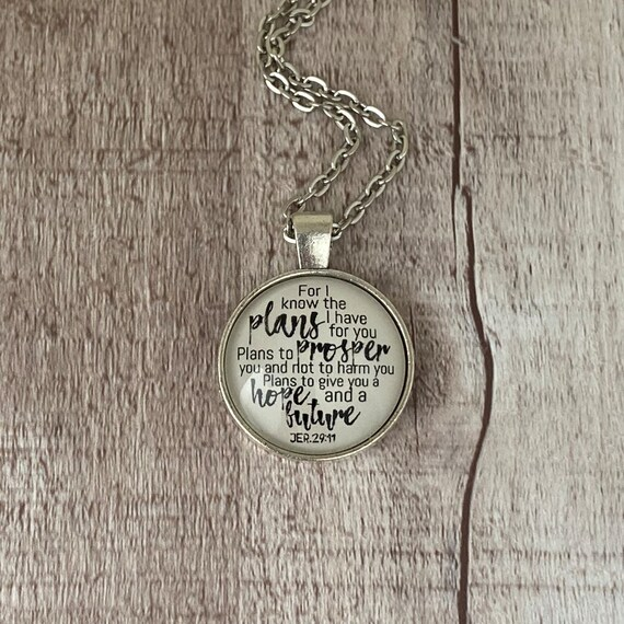 Hand Stamped Bar Necklace Extra Thin Sterling Silver Long Bar with Jer 29:11 For I know the plans I have for you. Scripture Jewelry