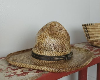 224bbc1f0e844 Vintage Southwest Pressed and Laquered Vintage Straw Hat- Wall Decor or to  Wear