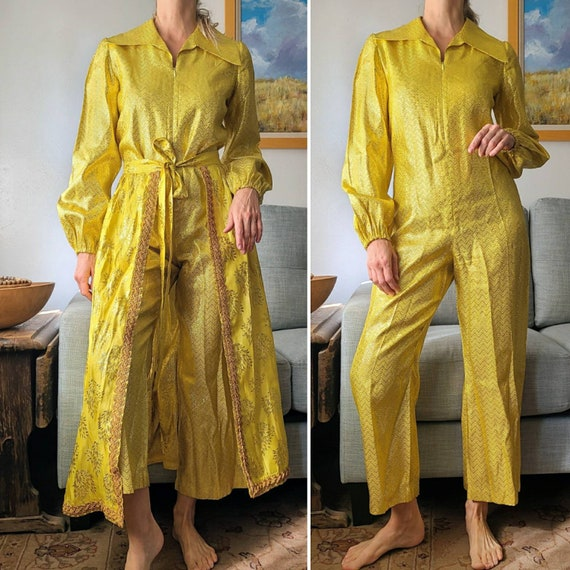 70's Jumpsuit and Skirt Set Metallic Gold