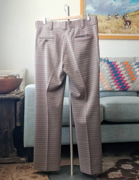 35W 70's/80's Plaid Polyester Pants - image 3