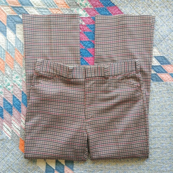 35W 70's/80's Plaid Polyester Pants - image 1