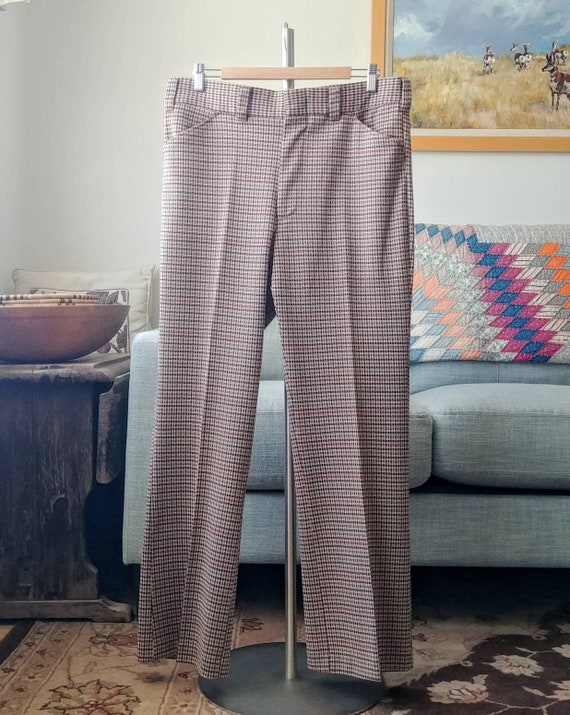 35W 70's/80's Plaid Polyester Pants - image 4
