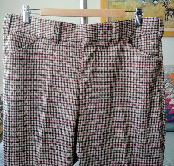 35W 70's/80's Plaid Polyester Pants - image 7