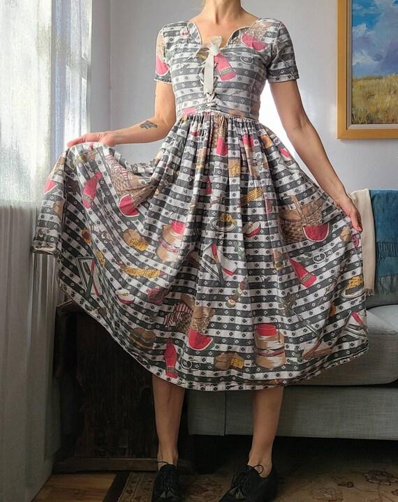80's Kitschy Picnic Dress