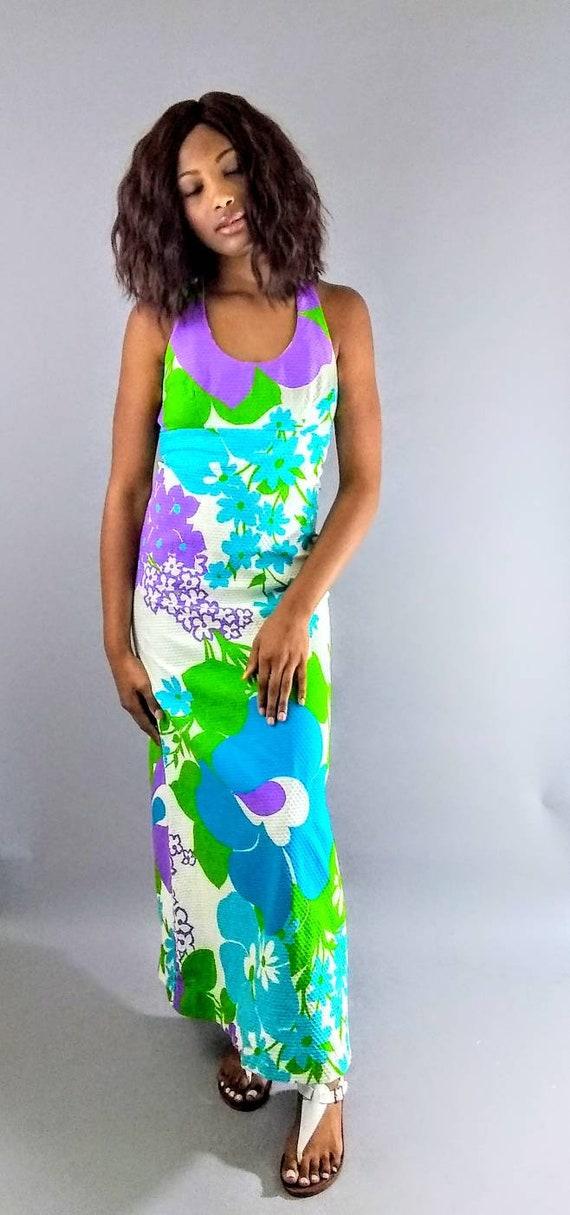 Vintage Malia 70s maxi floral dress. - image 8