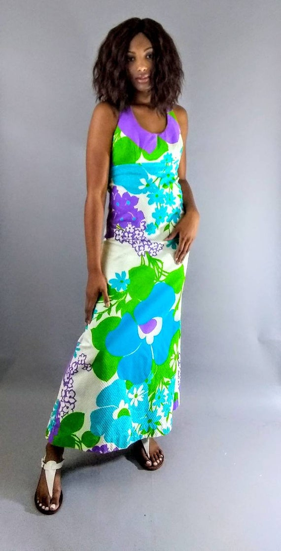 Vintage Malia 70s maxi floral dress. - image 9